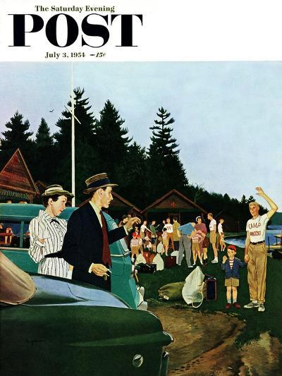 """""""First Day at Camp"""" Saturday Evening Post Cover, July 3, 1954-George Hughes-Giclee Print"""
