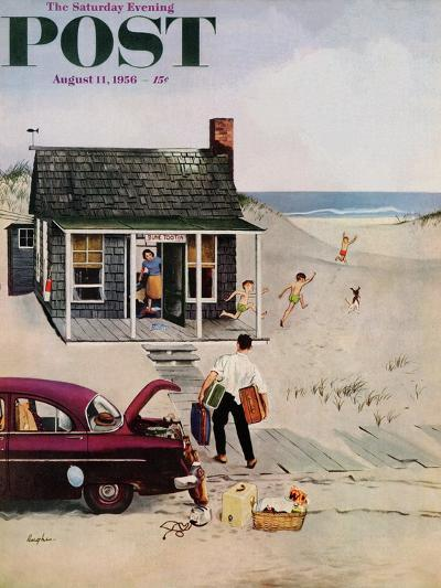 """""""First Day at the Beach"""" Saturday Evening Post Cover, August 11, 1956-George Hughes-Giclee Print"""
