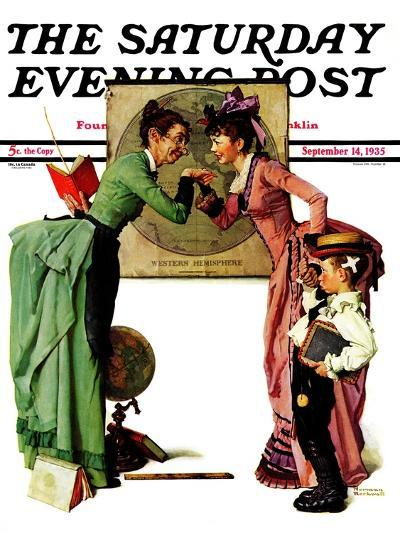"""""""First Day of School"""" or """"Back to School"""" Saturday Evening Post Cover, September 14,1935-Norman Rockwell-Giclee Print"""