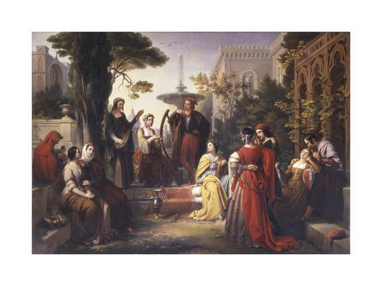 First Day of the Decameron (Author Boccaccio Is on Left in Red Cape)-Francesco Podesti-Art Print