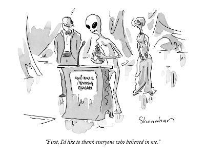 """First, I'd like to thank everyone who believed in me."" - New Yorker Cartoon-Danny Shanahan-Premium Giclee Print"
