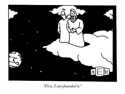 """First, I storyboarded it."" - New Yorker Cartoon-Bruce Eric Kaplan-Premium Giclee Print"