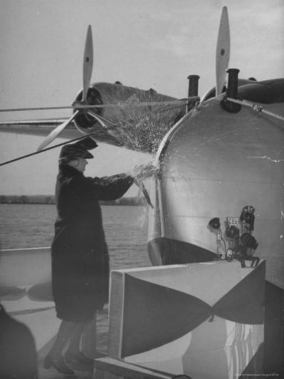 """First Lady Eleanor Roosevelt on the Hull of Pan American's New Flying Boat the """"Yankee Clipper""""-Thomas D^ Mcavoy-Premium Photographic Print"""