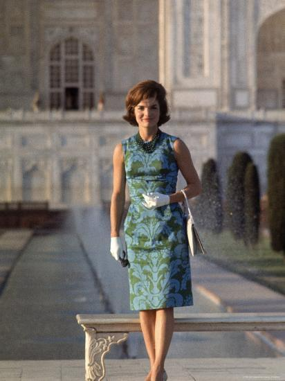 First Lady Jackie Kennedy Standing on the Grounds of the Taj Mahal During Visit to India-Art Rickerby-Premium Photographic Print