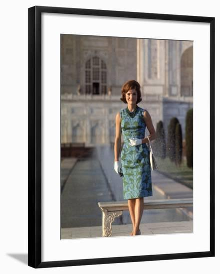 First Lady Jackie Kennedy Standing on the Grounds of the Taj Mahal During Visit to India-Art Rickerby-Framed Premium Photographic Print