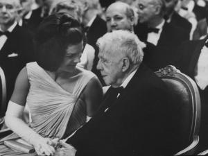 First Lady Jackie Kennedy W. Robert Frost at White House Party for Nobel Prize Winners