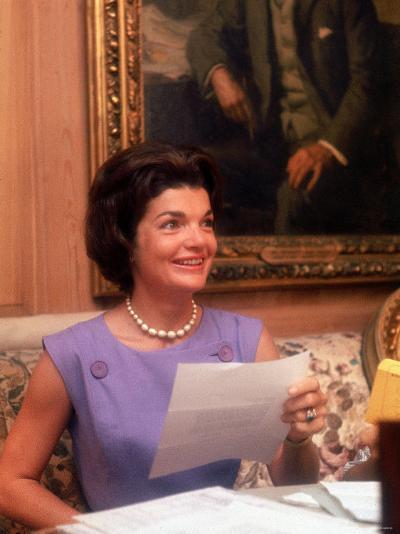 First Lady Jacqueline Kennedy Looking over Some Papers at the White House-Ed Clark-Photographic Print