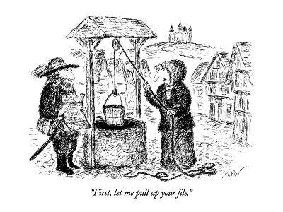 """""""First, let me pull up your file."""" - New Yorker Cartoon-Edward Koren-Premium Giclee Print"""