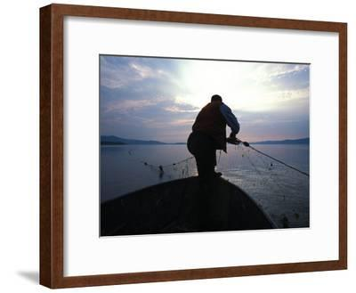 First Nation Pulls His Nets at Mouth of Restigouche River, Restigouche River, Quebec, Canada-Nick Norman-Framed Photographic Print