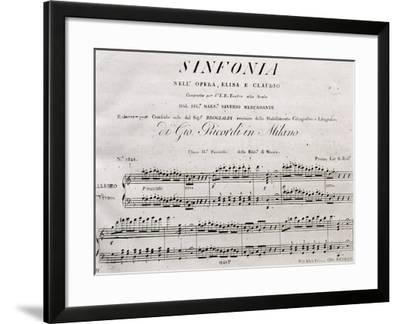 First Page of Elisa and Claudio, 1821, Opera by Saverio Mercadante--Framed Giclee Print