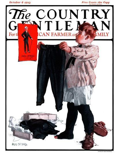 """First Pair of Long Pants,"" Country Gentleman Cover, October 6, 1923-Angus MacDonall-Giclee Print"