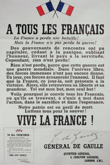 First Poster for the 18th June 1940 Address by General Charles De Gaulle--Giclee Print