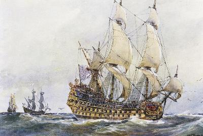 First-Rank French Ship at Time of Colbert (17th Century), Watercolour by Albert Sebille (1874-1953)--Giclee Print