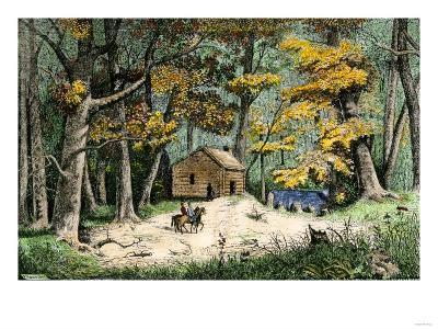 First Settler's Cabin in Indianapolis, Indiana, 1820--Giclee Print
