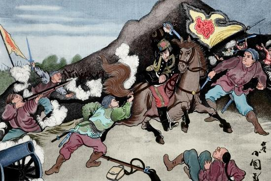 First Sino-Japanese War (1894-1895). Conflict Between Qing Dynasty China and Meiji Japan. Coloured--Giclee Print
