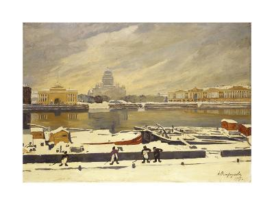 First Snow. View of the Senate Square from the University Embankment, 1917-Anna Petrovna Ostroumova-Lebedeva-Giclee Print