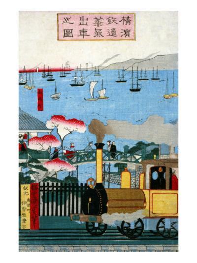 First Steam Train Leaving Yokohama, Japanese Wood-Cut Print-Lantern Press-Art Print