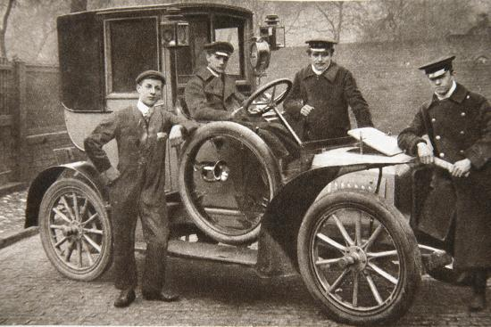 First taxi-cab in Liverpool, Merseyside, 1906-JP Wood-Photographic Print