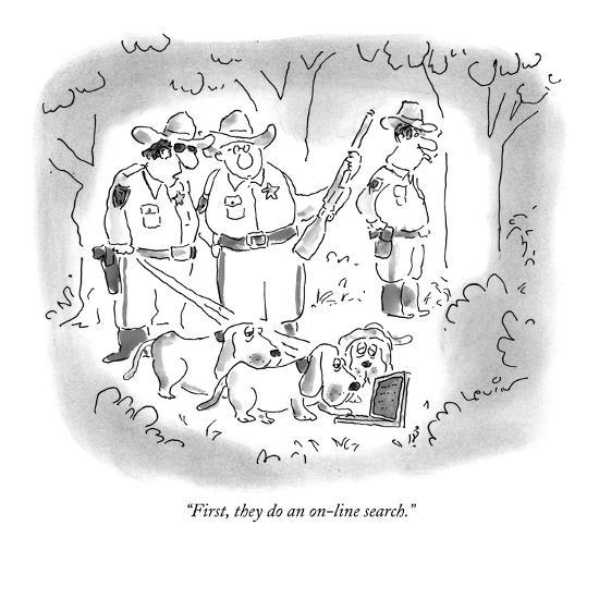 """""""First, they do an on-line search."""" - New Yorker Cartoon-Arnie Levin-Premium Giclee Print"""