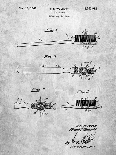 First Toothbrush Patent-Cole Borders-Art Print
