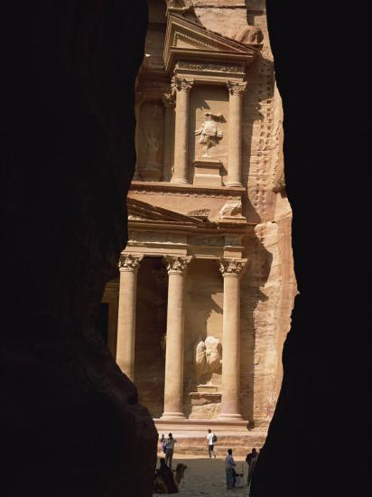 First View of Petra at the End of the Siq Entrance Gorge, Petra, Jordan, Middle East-Waltham Tony-Photographic Print