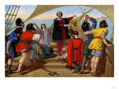 First View of the New World by Columbus and His Crew Aboard the Santa Maria, c.1492--Giclee Print