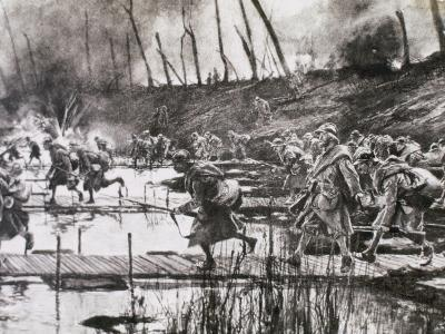 First World War (1914-1918). French Army Crosses the River Isere on Improvised Gateways-Prisma Archivo-Photographic Print