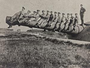 First World War: A Group of Belgian Gunners on the Mouth of a Cannon