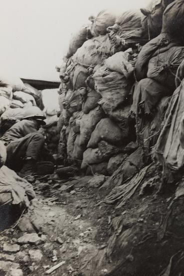 First World War: Soldier in the Trenches--Photographic Print