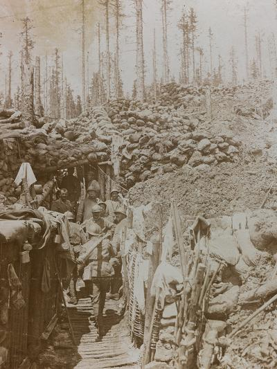 First World War: Soldiers in a Trench on Mount Zebio--Photographic Print