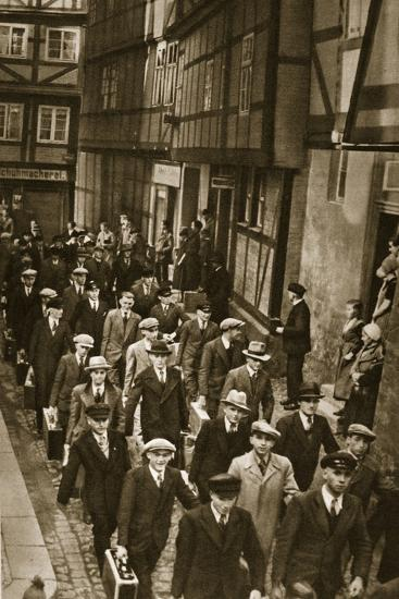 First World War Veterans and New Recruits are Summoned to the Barracks in Quedlinburg, 1939--Photographic Print