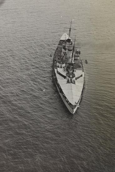 First World War: Warship Photographed from an Airship of the Italian Army--Photographic Print