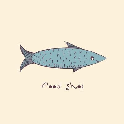 Fish a Freehand Drawing Logo Store Food-Natali Li-Art Print