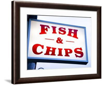Fish and Chips Sign in Conwy, Clwyd, Wales, United Kingdom, Europe-Donald Nausbaum-Framed Photographic Print