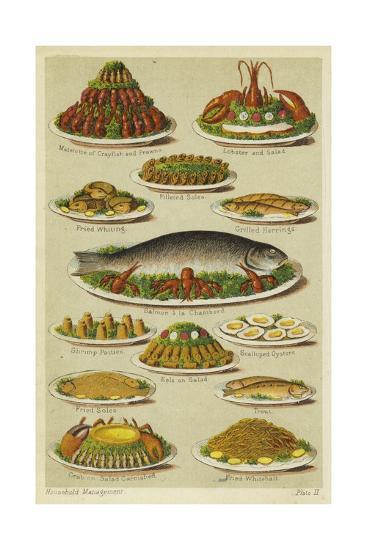 Fish and Seafood Dishes--Giclee Print
