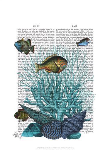 Fish Blue Shells and Corals-Fab Funky-Art Print