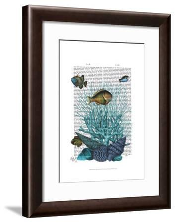 Fish Blue Shells and Corals-Fab Funky-Framed Art Print