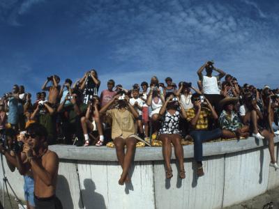 Fish Eye View of Spectators Watching Apollo 11 Blast-Off-Ralph Crane-Photographic Print