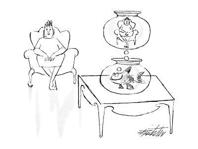 Fish in bowl imagining woman in bowl. - New Yorker Cartoon-Mischa Richter-Premium Giclee Print