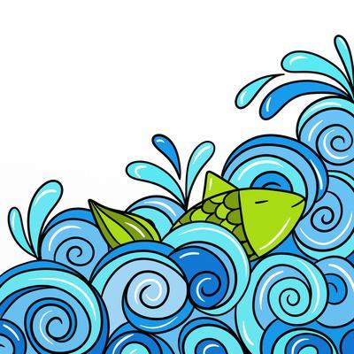 Fish in the Waves Blue-goccedicolore-Art Print