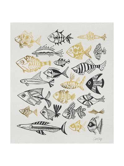 Fish Inklings in Black and Gold Ink-Cat Coquillette-Giclee Print