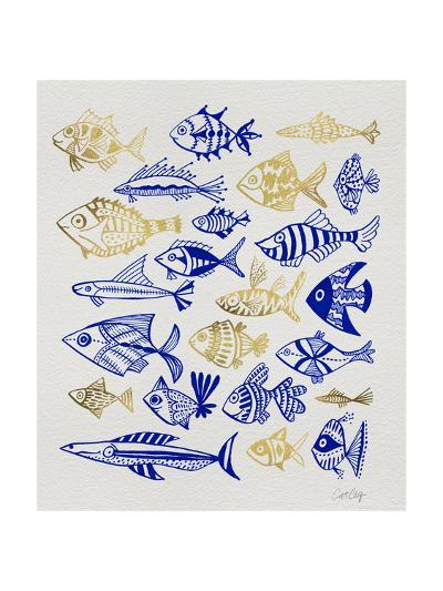 Fish Inklings in Navy and Gold Ink-Cat Coquillette-Giclee Print
