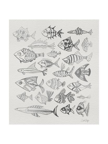 Fish Inklings in Silver Ink-Cat Coquillette-Giclee Print