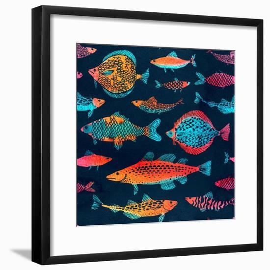 Fish on a Deep Blue Background - Watercolor-Tasiania-Framed Premium Giclee Print
