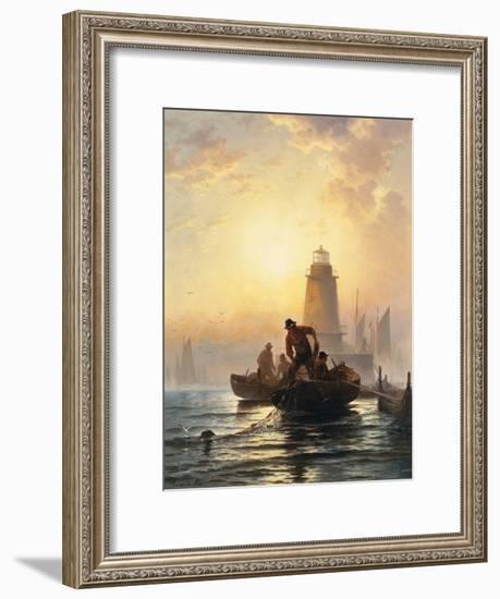 Fish Pond, Orient Bay, Long Island. 1876-Edward Moran-Framed Giclee Print