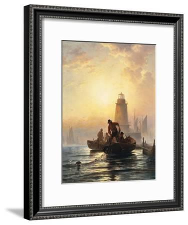 Fish Pond, Orient Bay, Long Island. 1876-Edward Moran-Framed Giclee Print