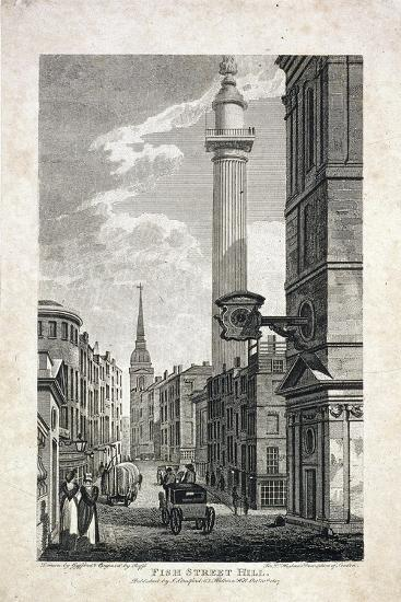 Fish Street Hill and the Monument, London, 1817-Robert Cabbel Roffe-Giclee Print