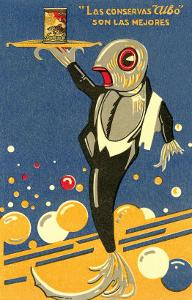 Fish-Waiter Serving Salmon