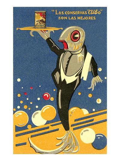 Fish-Waiter Serving Salmon--Art Print