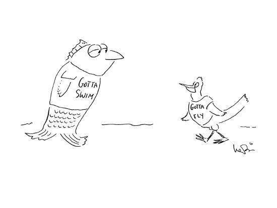"Fish wearing T-shirt that says ""Gotta Swim"" meets bird wearing T-shirt tha? - New Yorker Cartoon-Arnie Levin-Premium Giclee Print"